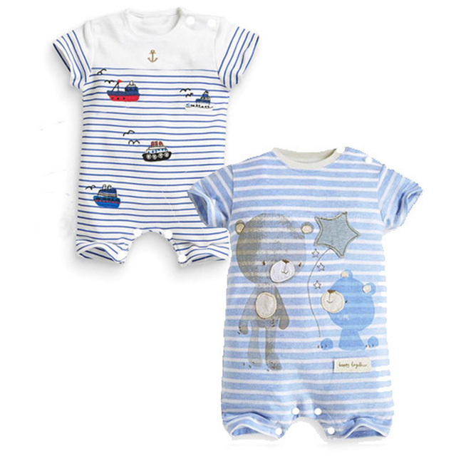 c500d3f3819b Cotton Baby Clothes Cute Infant Baby Boy Rompers Short Sleeve Baby ...