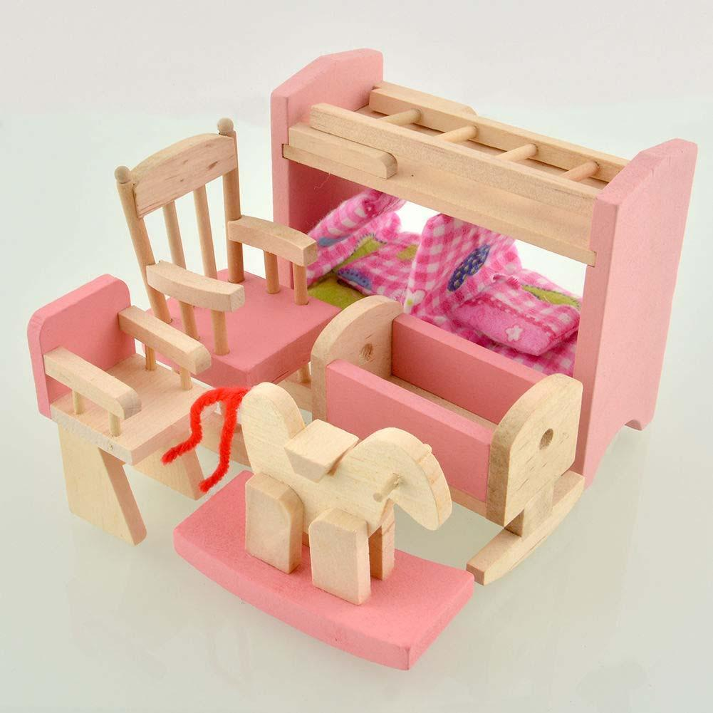 brand baby wooden doll house furniture miniature nursery room for kids children play toy gift upscale w