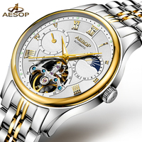 Aesop automático relógio mecânico masculino relógios de ouro marca superior luxo à prova dskeleton água esqueleto masculino relogio masculino