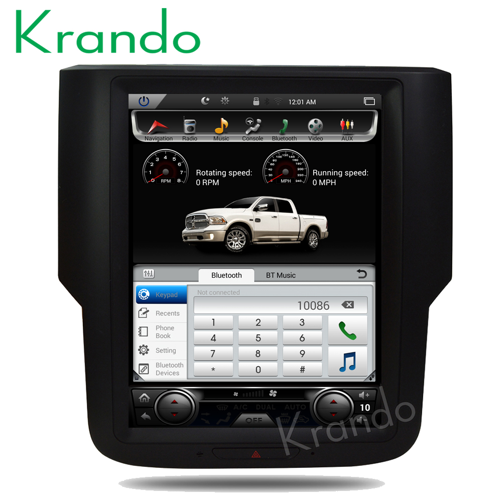 "Krando Android 6.0 10.4"" Tesla Vertical screen car audio radio multimedia system for Dodge Ram 1500 2014-2018 gps navigation"