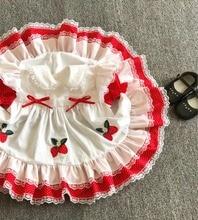 Letnia dziewczyna czerwona koronkowa truskawka kwiat księżniczka sukienka w stylu Vintage hiszpańska sukienka Lolita sukienka dla dziewczynek bawełniana sukienka na co dzień