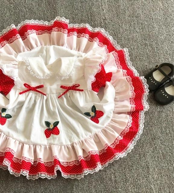 Sommer Mädchen Rot Spitze Erdbeere Blume Prinzessin Kleid Vintage Spanisch Kleid Lolita Party Kleid für Mädchen Baumwolle Casual Kleid