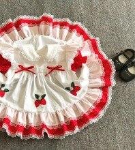 สาวฤดูร้อนลูกไม้สีแดงสตรอเบอร์รี่ชุดเจ้าหญิงดอกไม้ VINTAGE สเปนชุด Lolita ชุดสำหรับสาวฝ้ายชุดลำลอง