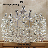 zerongE jewelry 5.3inch large brilliant pearl crown tiara pageant bridal wedding pearl crown tiara for women