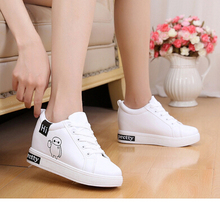 2017 Autumn PU Breathable Women's Casual Shoes white Platform Wedge Heels Fashion Casual Flat Shoes Women Creepers Casual Flats