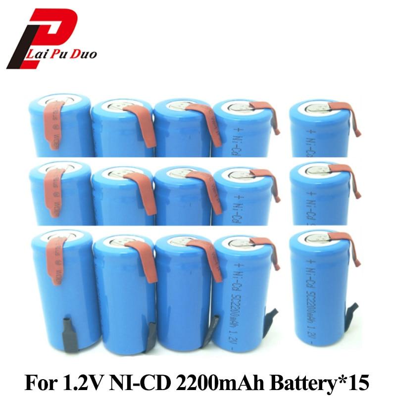 2200 mAh 1.2 V pour perceuse électrique SC batterie Rechargeable SUBC Batteria NI-CD pour tournevis cellule avec languette 15 pièces incluses