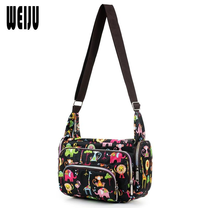 WEIJU Women Messenger Bags 2017 New Fashion Floral Printing Shoulder Bag Waterproof Nylon Women Cross Body Bag Bolsos Mujer