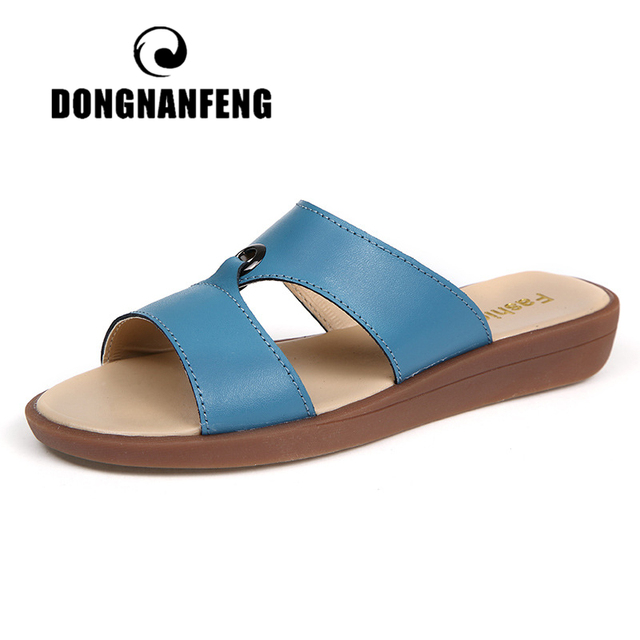 DONGNANFENG Women Mother Female Ladies Solid Shoes Sandals Cow Genuine Leather PU Beach Summer Slip On Casual Size 35 41 XLZ 223