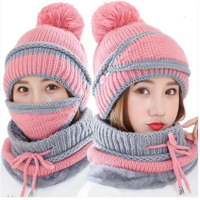 Visrover New Winter Knitted Cashmere Scarf Mask Hat Set Motor Driver Windstop Sets Ear Cuff Cap Neck Collor Three Set For Women