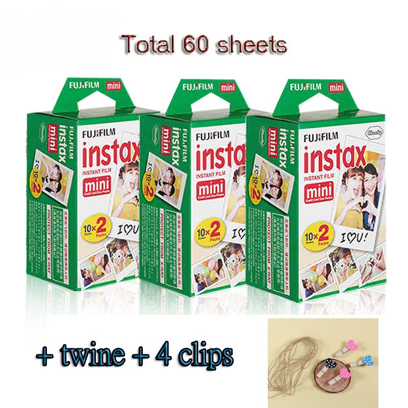 Original Fujifilm instax mini 8 9 film for 7S 25 8 50s 90 polaroid instant camera mini film white edage (60 sheets) + free gift new 5 colors fujifilm instax mini 9 instant camera 100 photos fuji instant mini 8 film