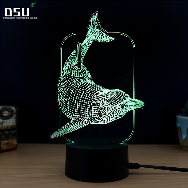 Lovely Naughty 3D Dolphin Design LED Table Lamp with USB Cable NightLights as Children and Kids Gifts