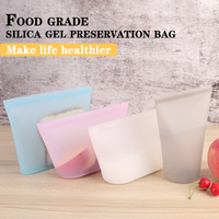 Caixa de almoço recipiente de comida recipiente de arroz portátil conjuntos de louça de silicone reutilizável saco de comida fresco leakproof sacos selados Lancheiras     -