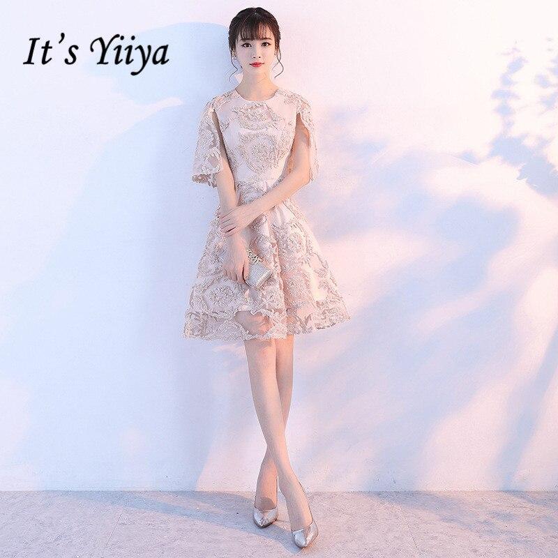 It's YiiYa 2017 Hot Champagne Half Sleeve O-Neck   Bridesmaid     Dresses   Simple Flower Elegant Pattern   Bridesmaid   Frock X191