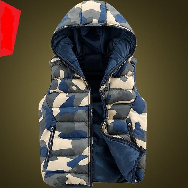 Free shipping Cotton vest couple print 2016 new winter down warm casual hooded vest coat outwear Korean women/men S-3XL A1838