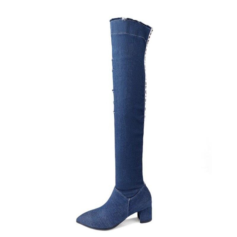 Mode De L'intérieur À Ver Denim black Femmes Over Solide Taille genou Zip Bout Blue Bottes Carré Pointu Chaussures Longues Plus Hiver Talons the Toisons La q5pExwFFU