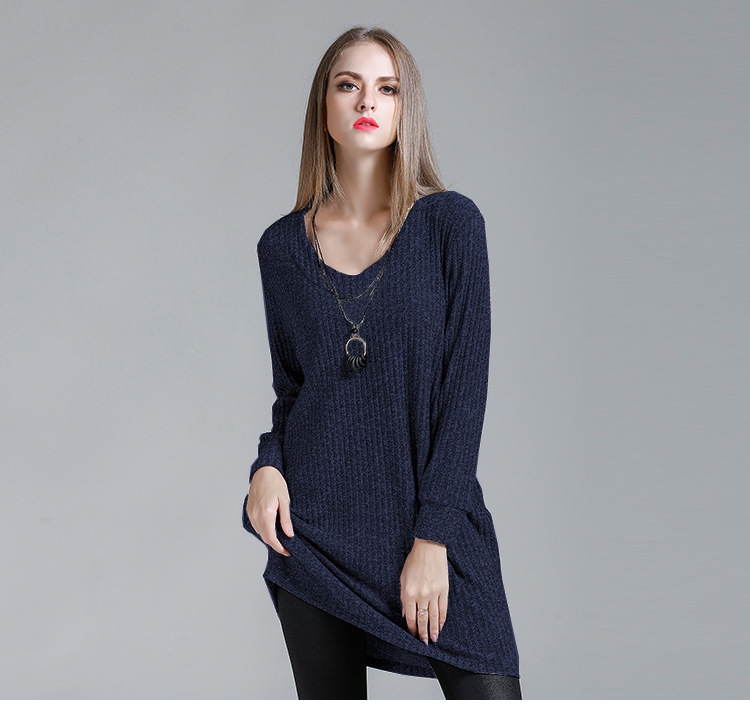 Women Loose Knitted Dress Fashion Winter Spring Long Sleeve Sweater Dresses ladies casual slim knitted clothes NRQZ004