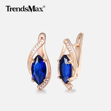 Luxury Blue CZ Stone Leaf Shaped Earrings for Women 585 Rose Gold Earrings Woman Party Wedding Jewelry Valentines Gifts KGE136
