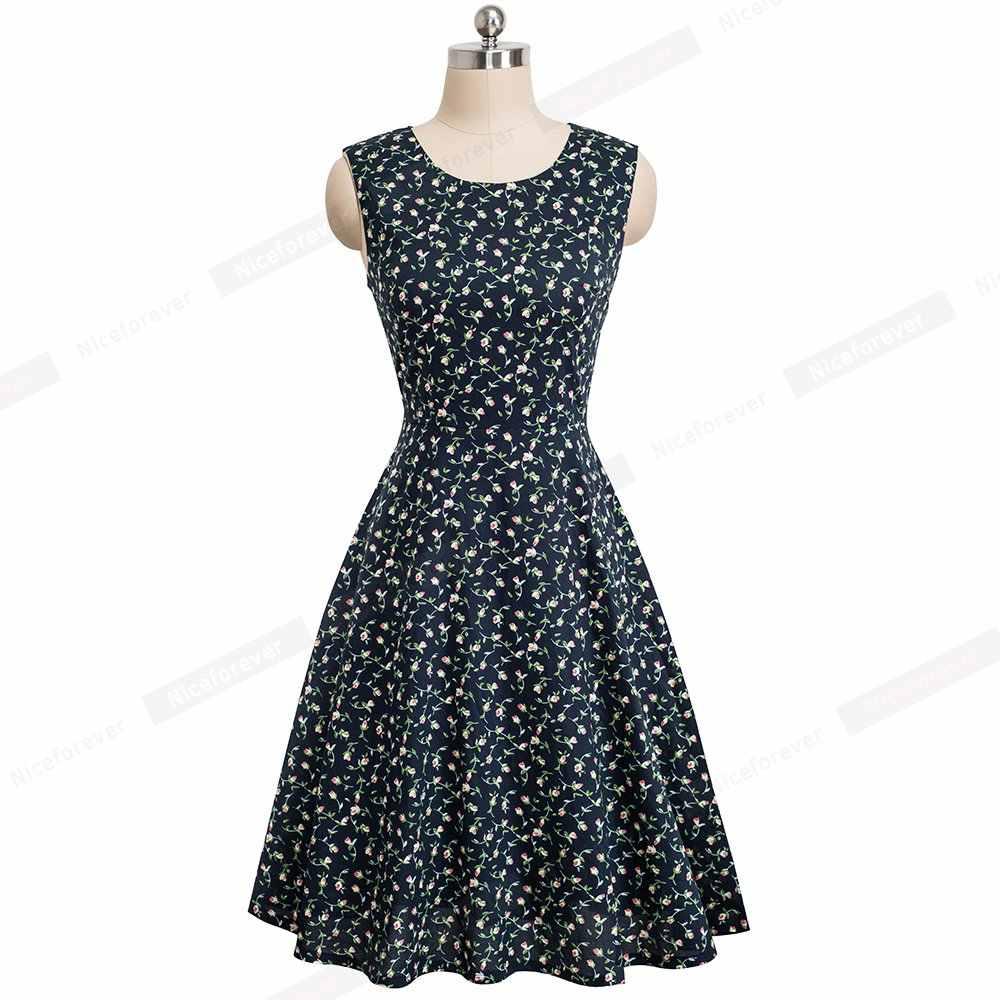 Женское винтажное классическое платье трапециевидной формы с цветочным принтом, Элегантное летнее платье без рукавов, плиссированные вечерние платья HA086