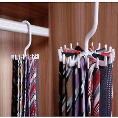 Adjustable Scarf Hanger White Rotating Tie Holder Neck Ties Rack