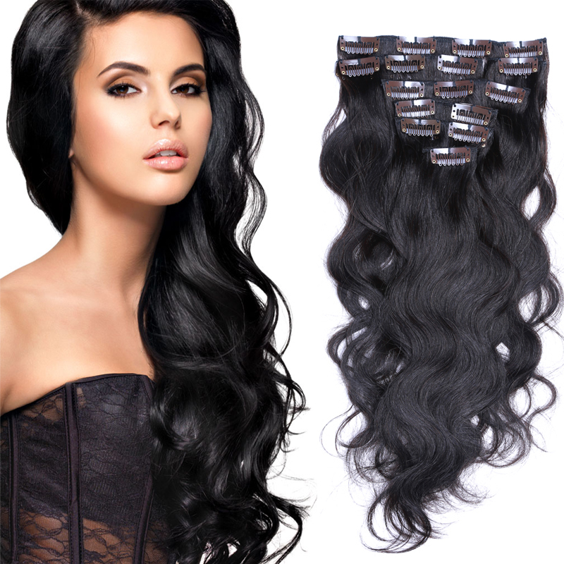 8a Cheap American Body Wave Clip In Human Hair Extensions 70g 220g 7