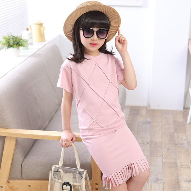 Girls clothing sets Kids Clothes Ropa mujer Summer t-shirt+skirt two pieces suits Roupas infantis menina Children suit