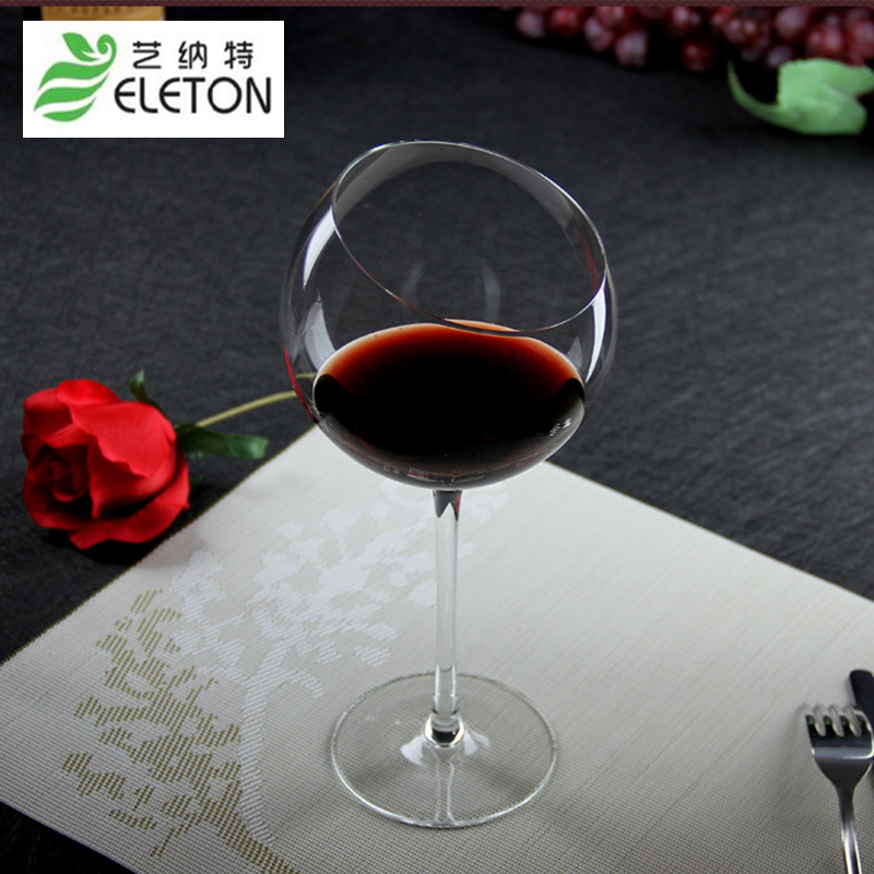 Eleton large capacity wine glass explosion cold crystal goblet oblique incision creative wine cup feet high