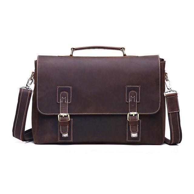 2017 new European fashion genuine leather handbag men business Laptop Briefcase Shoulder Messenger Bag retro men crazy horse