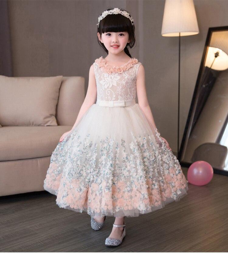 Elegant Appliques Lace Girls Wedding Dress flower Girl Dress Girls Birthday Prom Formal First Communion Gown
