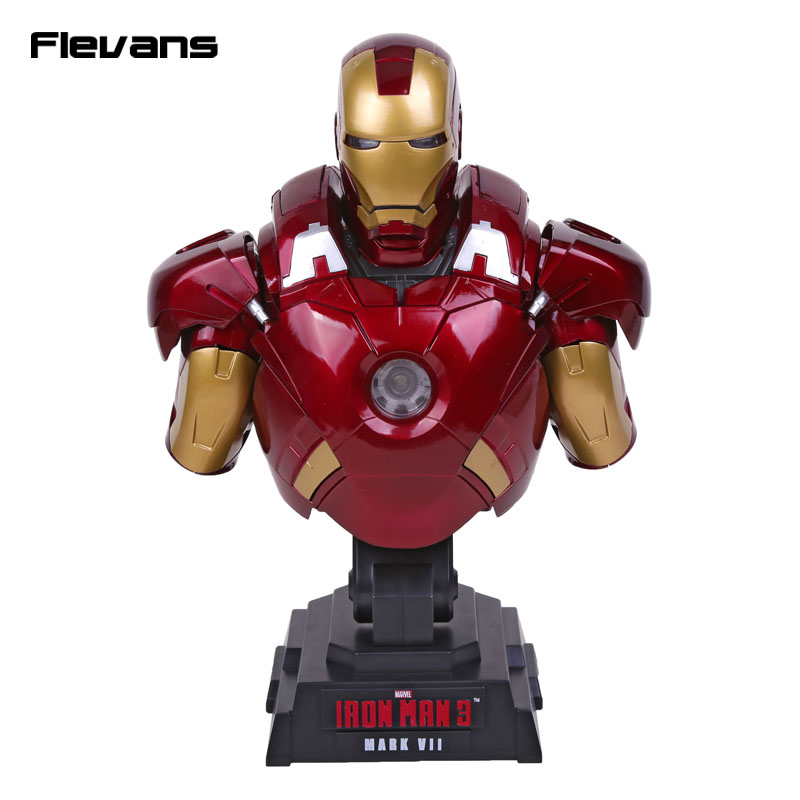 Iron Man 3 MARK VII 1/4 Scale Limted Edtion Collectible Bust Figure Model Toy with LED Light 23cm 1 6 scale model metal gear solid v the phantom d dog diamond dog about 23cm collectible figure model toy gift