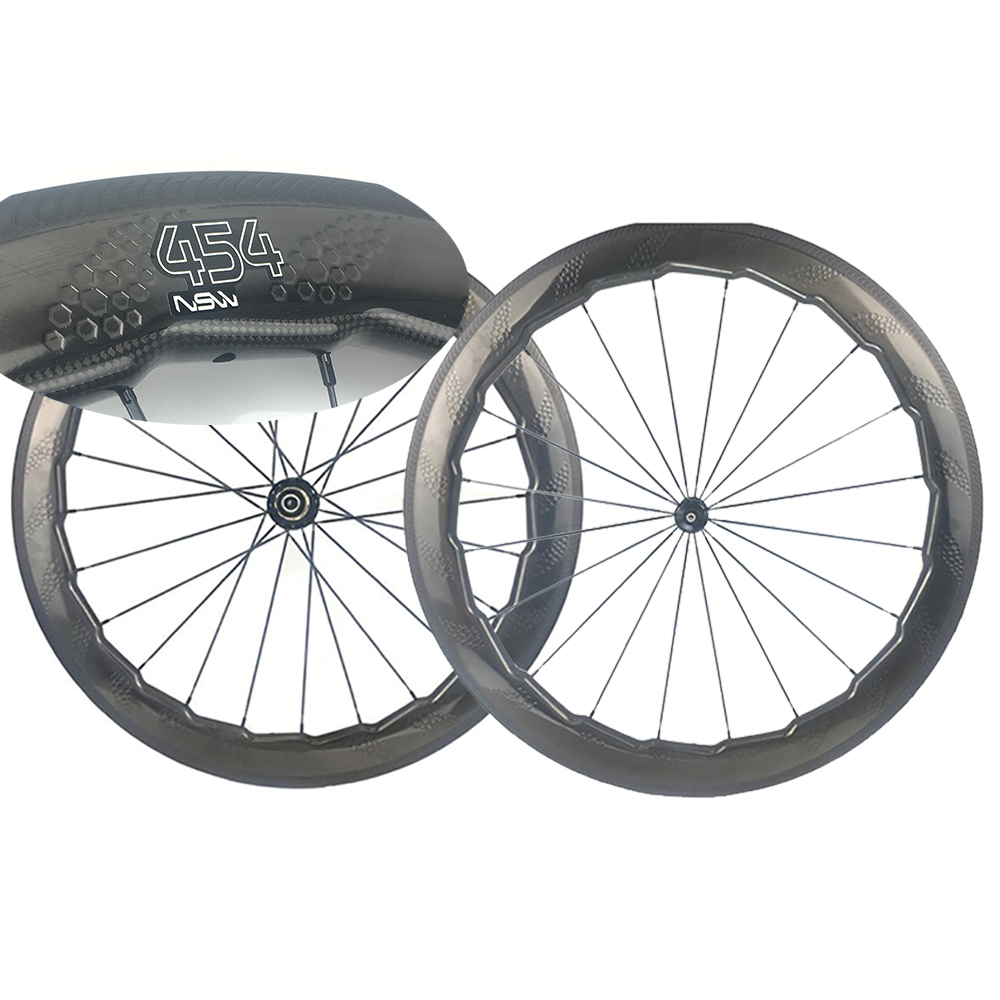 454 Dimple Carbon Wheel Fish Brake 58mm Road Wheelset Road Hub Aero Spokes Wind Brake Stable Cycing Clincher Wheels/Rims