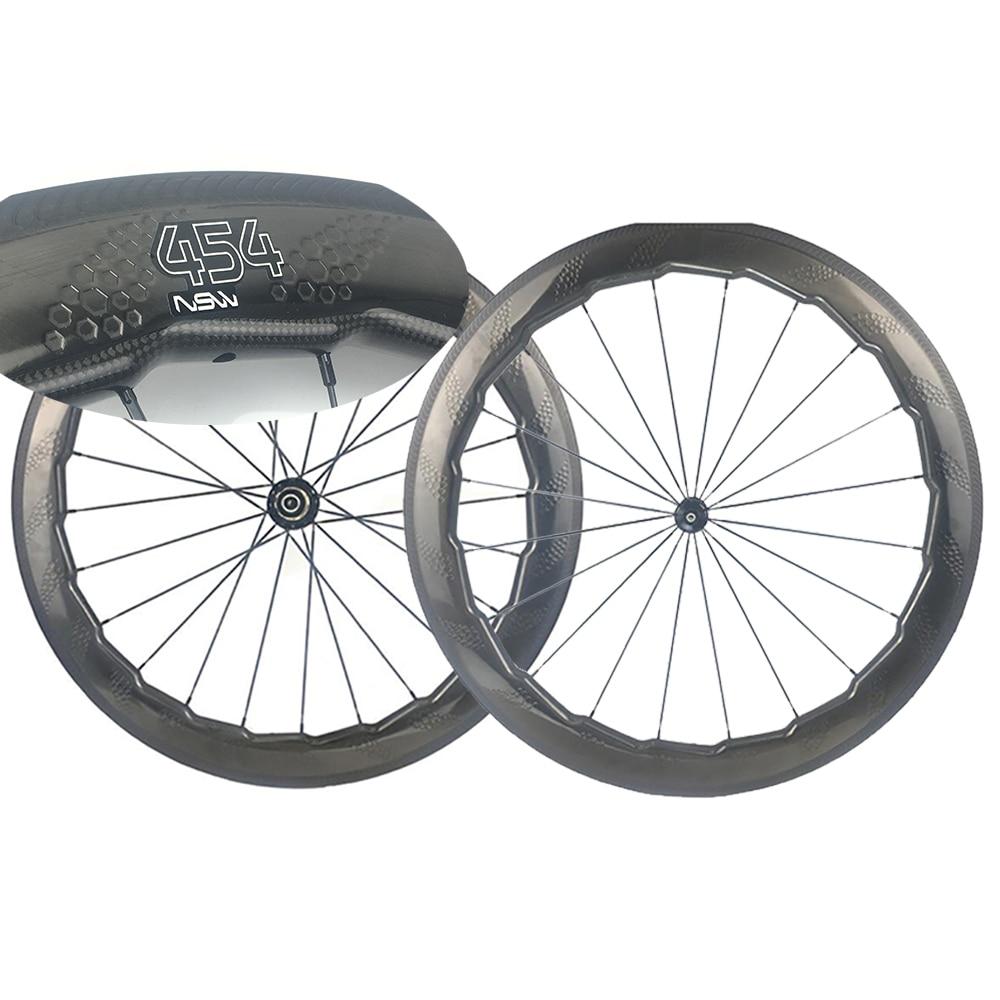 454 Dimple Carbon Wheel Fish Brake 58mm Road Wheelset Road Hub Aero Spokes Wind Brake Stable Cycing Clincher Wheels/Rims