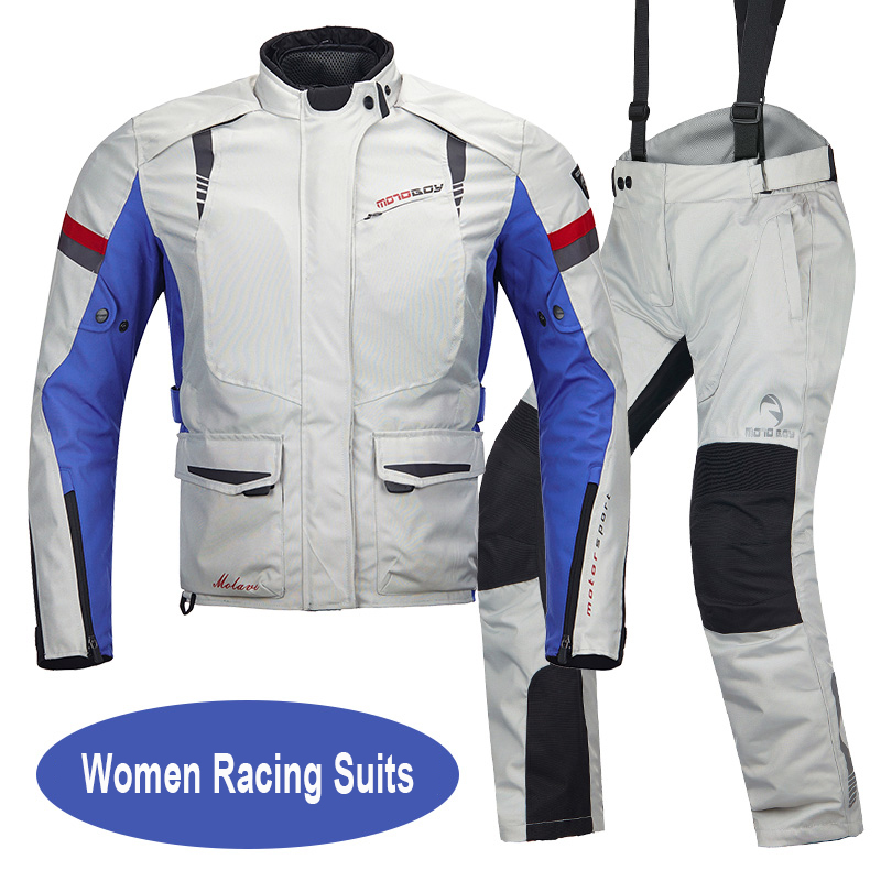 MOTOBOY Female Motorcycle Racing Jacket Women Protector Motocross Pants Warm Lady Motorbike Clothing Suits Girl Motos