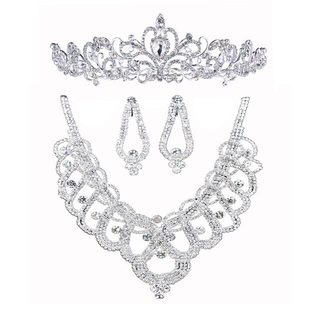 Aretes collar de la corona de tres piezas juegos de joyería rhinestone accesorios de la boda tiara Parure