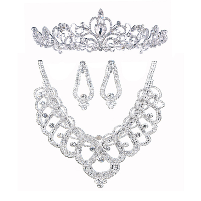 necklace earrings crown three piece jewelry sets rhinestone tiara wedding accessories Parure