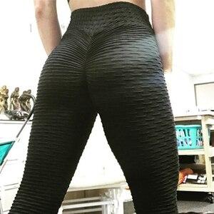 Image 4 - מכירה לוהטת שחור חותלות נשים פוליאסטר קרסול אורך סטנדרטי לקפל מכנסיים גמישות לשמור רזה לדחוף את כושר נשי צועד