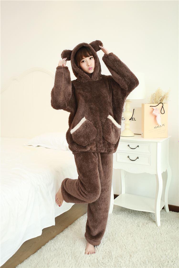 2018 Winter Brand Flannel   Pajamas     Sets   For Women Bear Sleepwear   Set   For Couple Coral Fleece Nightwear Female