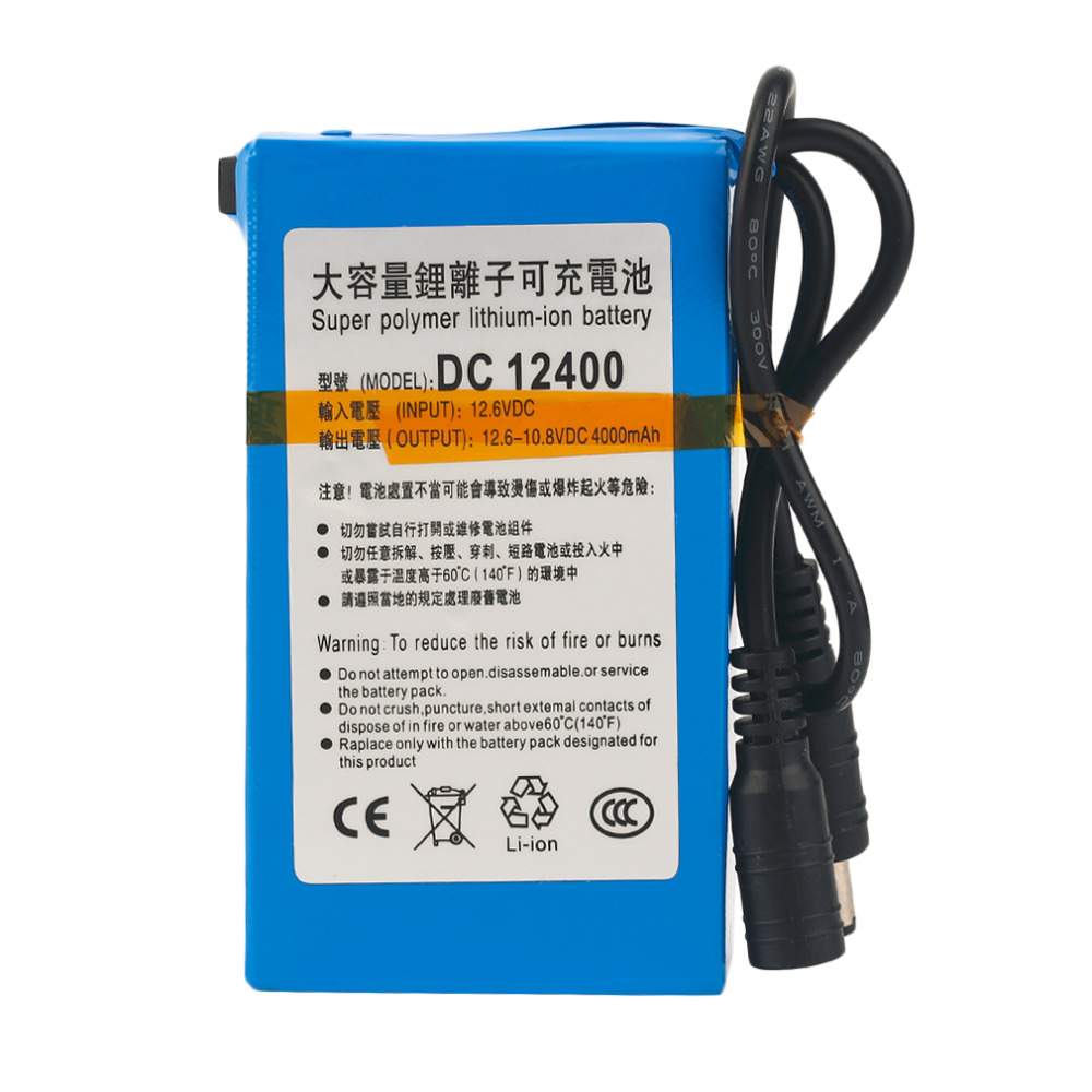 DC 12.6 V Rechargeable Li-ion Battery For CCTV Camera Blue Super Strong Capacity