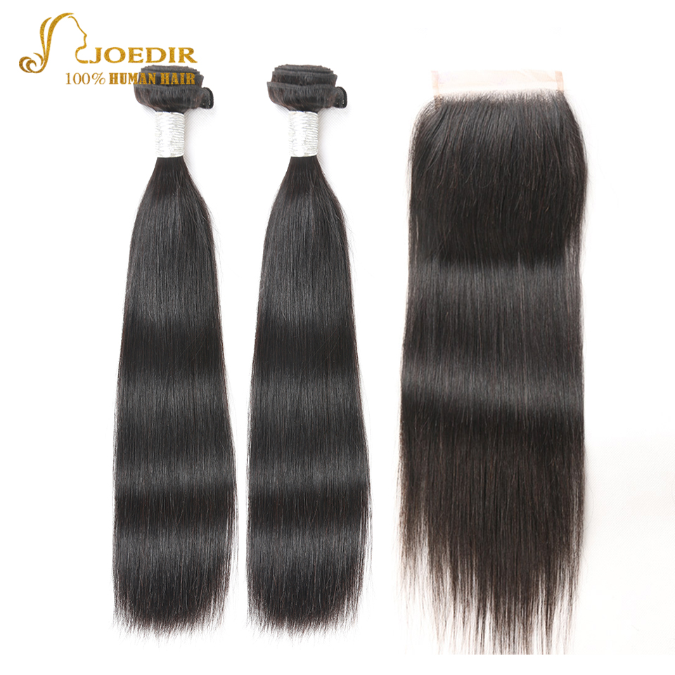 Joedir Natural Black Straight Brazilian Human Hair Bundles With Closure Non-Remy 2 / 3 Bundles With Lace Closure Free Shipping
