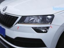 Lapetus Chrome Bright Front Head Lights Lamp Eyelid Eyebrow Decoration Strip Cover Trim 2 Pcs Fit For Skoda Karoq 2018 2019 ABS