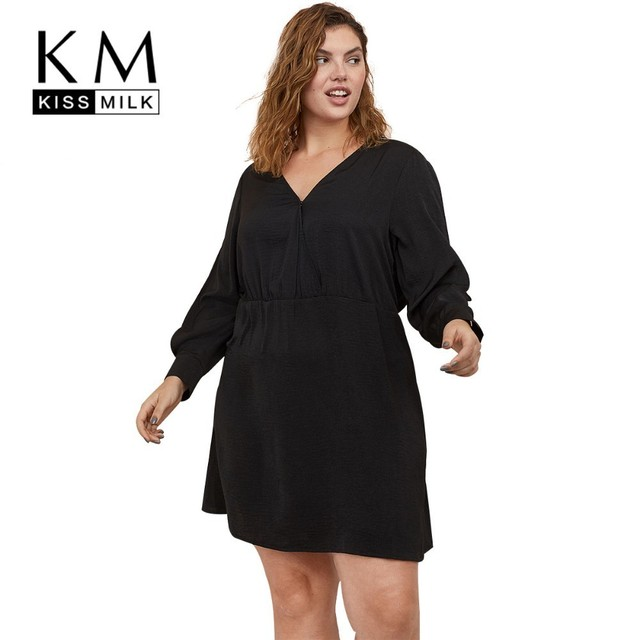 Kissmilk Plus Size Women Dress Simple Black Sexy Kimono V-neck Shoulder Openwork Dress