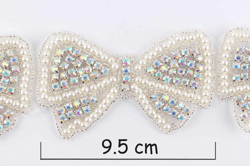 1Yard Newly Hot Pearl Bow Rhinestone Applique Patch Trim Hot Fix Crystal  Pearl Applique Trimming For Bridal Hair Belt-in Rhinestones from Home    Garden on ... 3c7097f1b07a