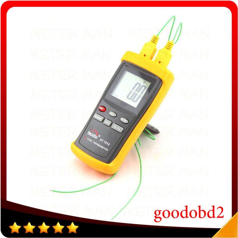 Brand New Digital LCD Industrial Thermometer Two Channel 1370C 2498F K Type Digital Thermometer Thermocouple Sensor DT1312