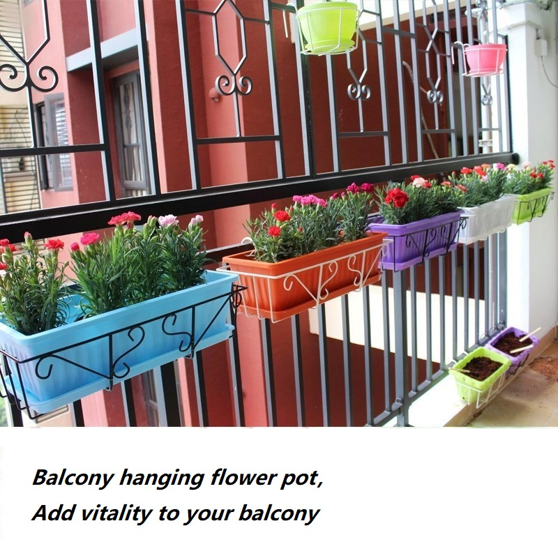 Balcony Planting Pot Holder,with Flower Trough Wrought Iron Hanging Hook Indoor Handrail Iron Shelf Set Planters For Succulents