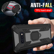 Shockproof Armor Case For Samsung Galaxy S10 Plus Fashion Magnetic Ring Car Holder Phone Shell M10 M20 M30 A30 A50 A7 A9