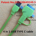 4 in 1 USB 3.0 TYPE-C cable Charging and data sync Applicable to usb-c oneplus 2 one usb type-c adapter wristband charger ugreen