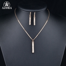 Gold Color Clear Austria Crystals Drop Earrings and Pendant Necklace Jewelry Sets