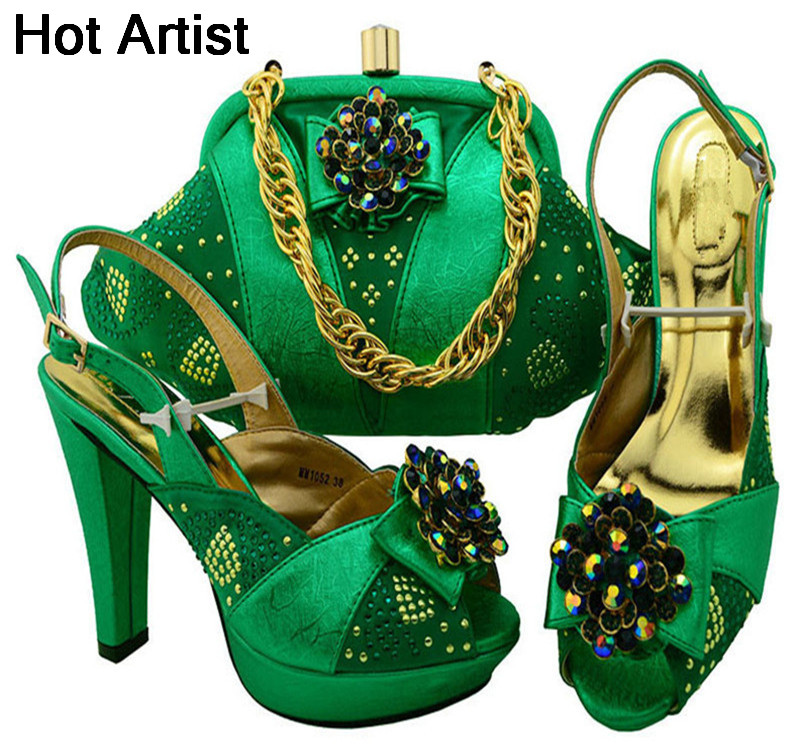 Hot Artist High Quality Italian Woman Shoes And Bag Set Fashion African High Heels Shoes And Bag Set For Party Dress MM1052