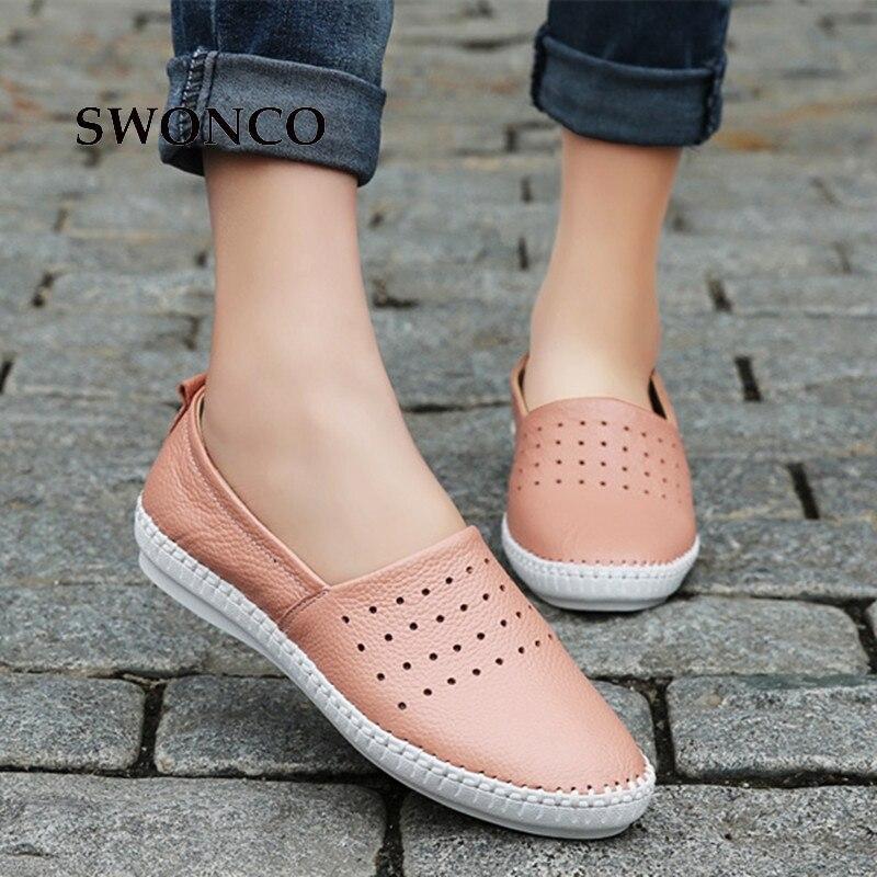En Chaussures Cuir Black white Femme 2018 Mocassins De Femmes Slip Appartements Sur Véritable Casual Dames Swonco pink qRYt0w