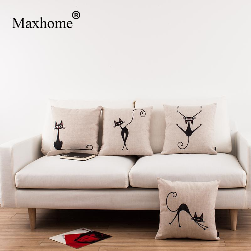 Simple Cartoon Printed Pillowcase Linen Cushion Decorative