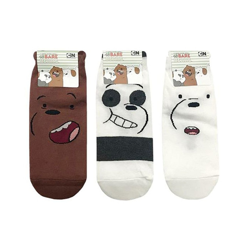 We Bare Bears Women's Short Summer Socks Female Thin Cotton Boat Socks Low Cut Women Socks 3 Pairs/Lot